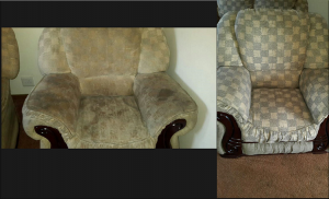 Single seat couch before and cleaning