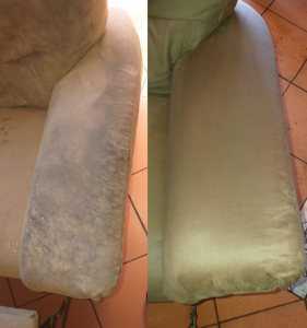 upholstery cleaning before and after picture
